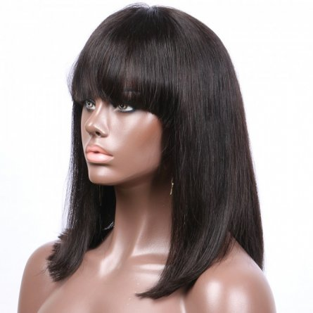 Glueless Preplucked Yaki Lace Front Bob Wig with Bang BOB17