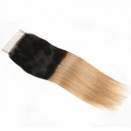 1pc Ombre #1B/27 Brazilian Straight Lace Closure (4*4) LSB27