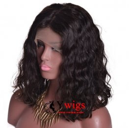 Glueless Preplucked Body Wave Lace Front Bob Peruvian Human Hair Wig BOP004