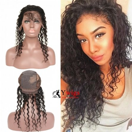 1 pc Peruvian Human Virgin Hair Deep Curly 360 Frontal with Cap LQP10