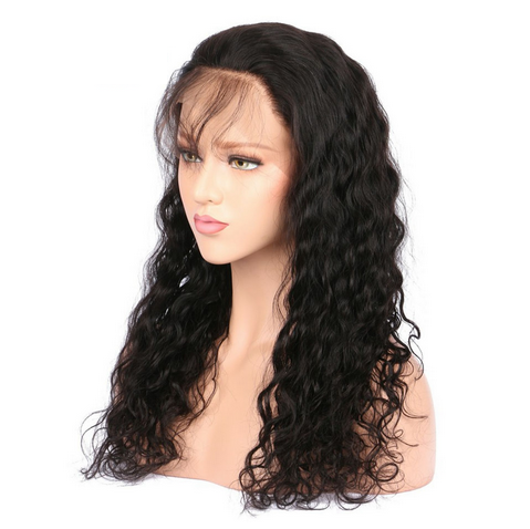 Glueless Preplucked Brazilian Hair Water Wave Brazilian Hair Human Hair Full Lace Wig AAB08