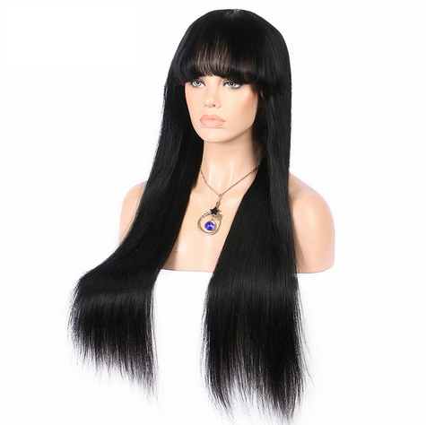 Glueless Preplucked Brazilian Hair Nautral Straight Full Lace Human Hair Wig with Bang AAB101
