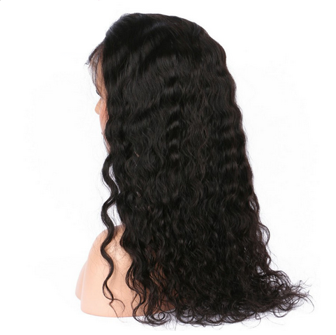 Glueless Preplucked Water Wave Peruvian Human Hair Full Lace Wig AAP08
