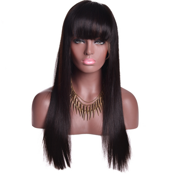 Preplucked Silk Straight Peruvian Human Hair Full Lace Wig with Bang AAP101